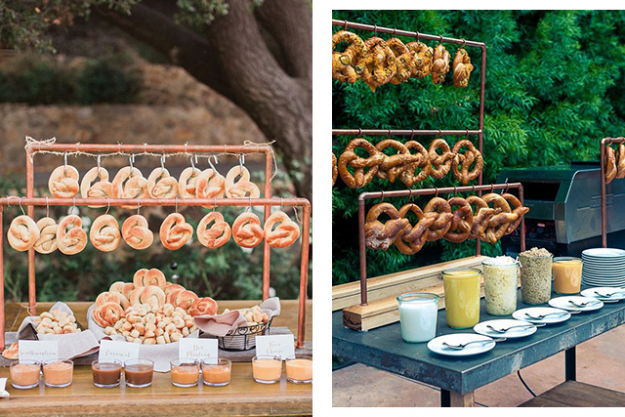 Wedding snacks: have a pretzel bar. Images: Pinterest/The Knot, Pinterest/The Newport Bride