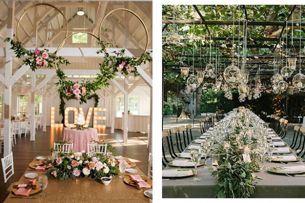 Wedding décor: suspended flowers and decorations. Images: Pinterest/Simply White Photo, Pinterest/Boho Weddings & Life