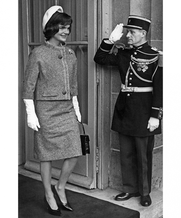 Jackie Kennedy wears a tweed suit designed by Givenchy (image: Getty)