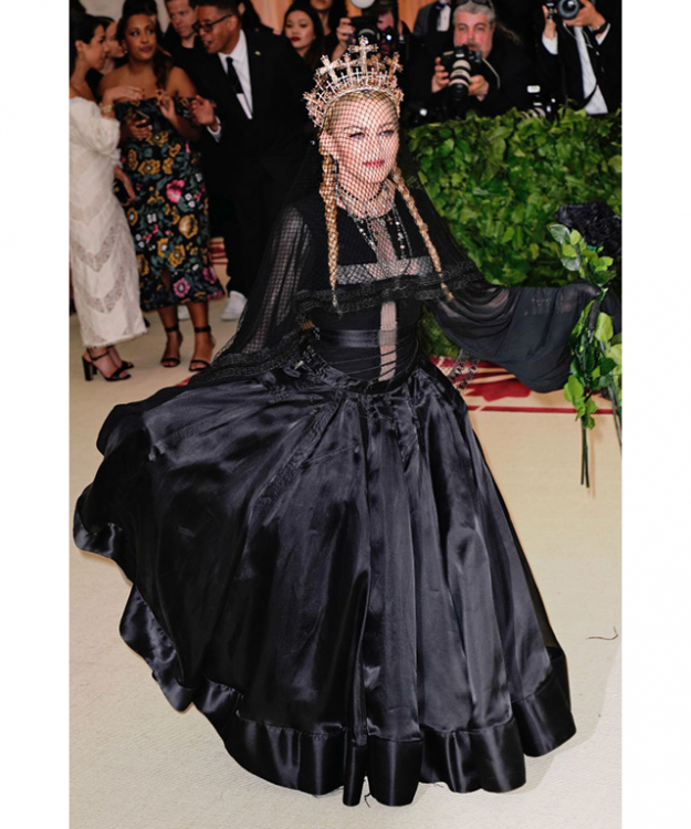 The Queen of Pop went for a gothic bride of Christ look from Jean Paul Gaultier. Image credit: Getty Images.