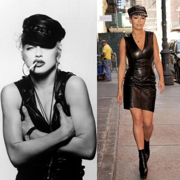 Rita Ora looks to one of Madonna's tougher, leather-clad looks