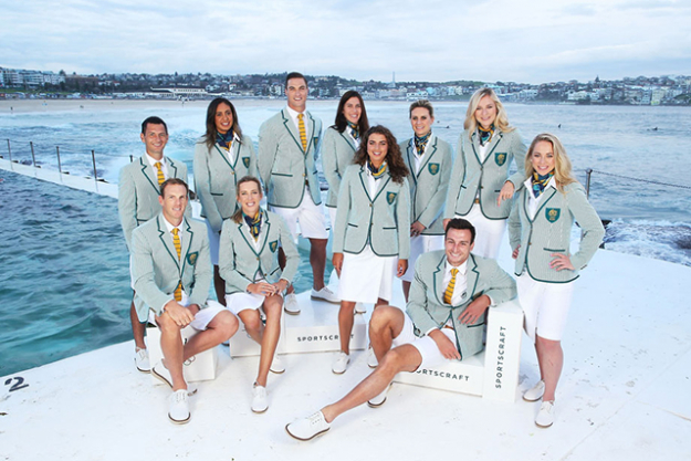 Sportscraft  x Aussie Olympic Team: Our home grown heroes have a heavy style cross to bear with the green and gold colour palette but Sportscraft have turned it fresh this year via sharp tailoring and muted tones.