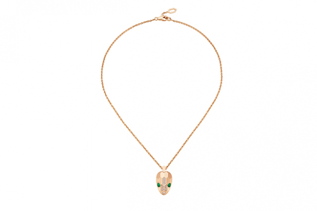 Serpenti pink gold pendant with malachite eyes and pavé-set head