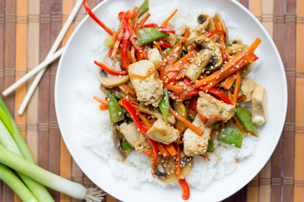 Stir fry with chicken, fish, or tofu.