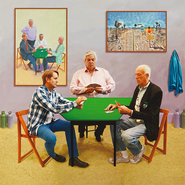 David Hockney English 1937– 'A bigger card players 2015' photographic drawing printed on paper mounted on aluminium edition 1 of 12 177.2 x 177.2 cm Collection David Hockney Foundation © David Hockney Photo Credit: Richard Schmidt