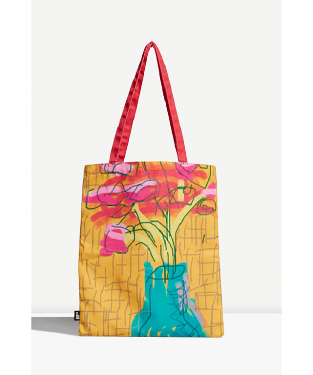 NGV: Take a piece of seminal British painter David Hockney's work home with you with these playful tote bags, featuring details of the iPad & iPhone drawings Untitled 497, and exclusive NGV designs from the exhibition David Hockney: Current.