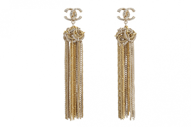 Chanel Golden metal and strass earrings, $3,320