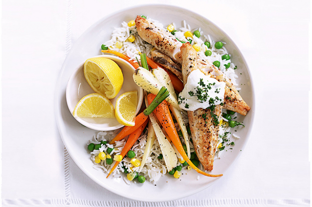 Grilled fish and veggies.