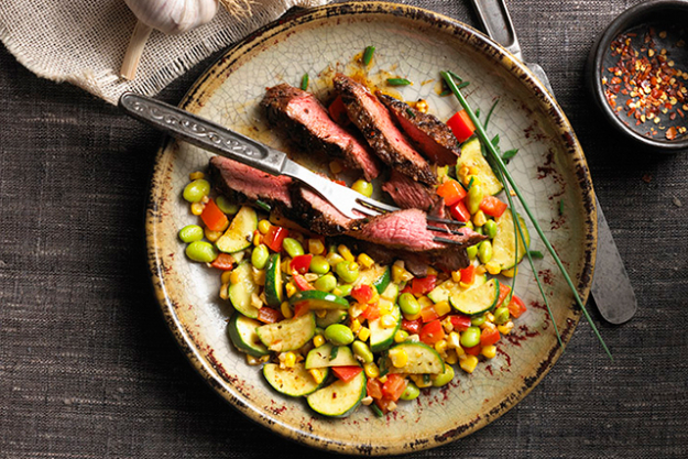 """Anything rich in protein is a good choice as the amino acids that make up proteins are heavily involved in liver detoxification."" Options include: steak and veggies."