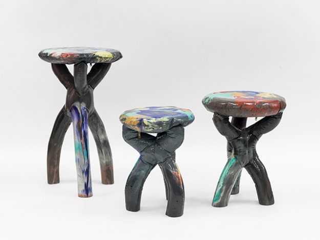 Group of black stools and side table, by Misha Kahn 2016 courtesy of Friedman Bendan, the artist and the photographer Adam Reich