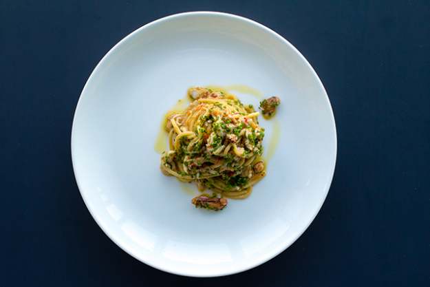 """Spaghetti Aglio Olio"" (Spaghetti No.7, Spanner Crab, Garlic, Chilli, Parsley, Lemon)"