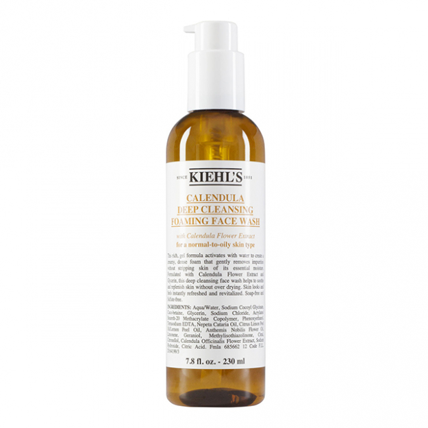 "Cleanser: ""Even if I already have make-up on, I like to start fresh. I use Kiehl's Calendula Deep Cleansing Face Wash or I'll use this Sisley Cleansing Milk. Then maybe I'll use the Sisley Black Rose Precious Oil.""<p><a style=""font-size: 17px;"" href=""http://www.kiehls.com.au/calendula-deep-cleansing-foaming-face-wash/KLKR00036.html?gclid=CNjLhPLIn9ACFclWvQod3WIIrA"">kiehls.com.au</a></p>