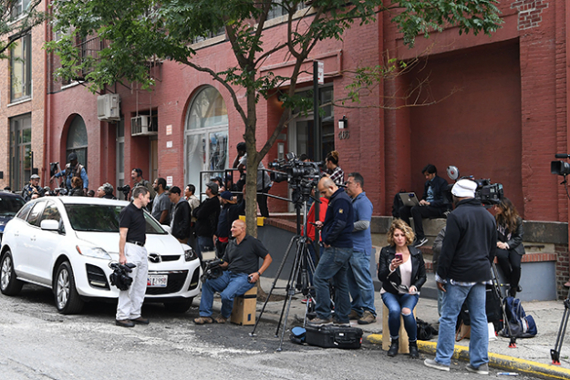 10.	The media circus camped outside Kim and Kanye's New York apartment