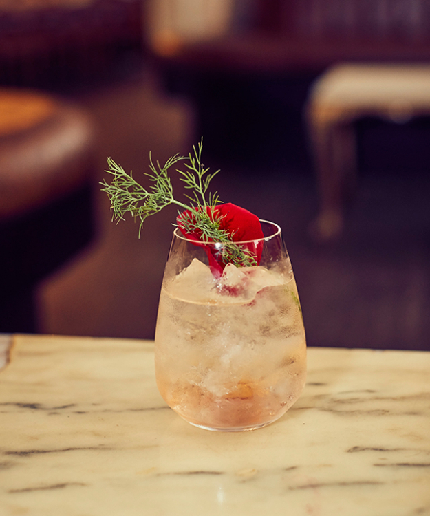 Le Vie en rose: Ingredients: 30ml St-Germain, 20ml Lillet Rose, 30ml Soda, Top with Prosecco. Glassware: Stemless wine glass. Method: Build St-Germain, Lillet Rose, soda and Prosecco in a wine glass. Add ice and stir. Garnish: Dehydrated Lemon, Dill spring and rose petal.