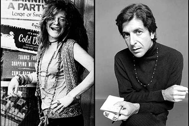 Leonard Coen and Janis Joplin.  Of the many songs written about the Chelsea, Cohen's 'Chelsea hotel #2', from his 1974 album, New Skin for the Old Ceremonies, is the most famous. It begins, with carnal candour: 'I remember you well in the Chelsea hotel/ you were talking so brave and so sweet/ giving me head on the unmade bed/ while the limousines wait in the street', and in 2005 Cohen reluctantly confirmed that the lover in question was fellow Chelsea habitue Janis Joplin. 'She wouldn't mind,' he said, 'but my mother would be appalled'.