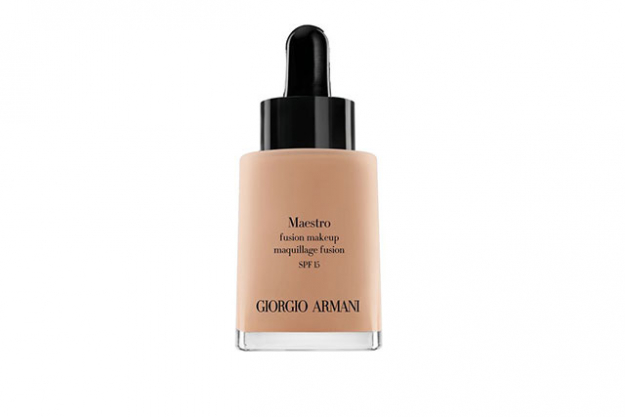 Giorgio Armani, Maestro Glow Foundation, $99: the velvet-like texture glides on the skin like a serum, blending seamlessly and leaves a warm, glowing and totally natural complexion.