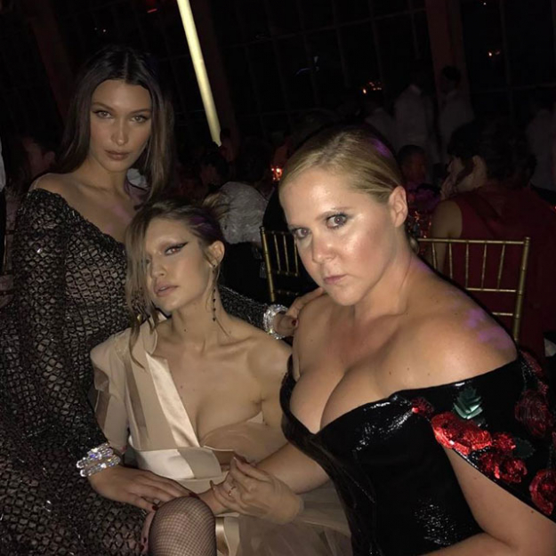 "Bella and Gigi Hadid were snapped having a moment with their ""sister"" Amy Schumer."