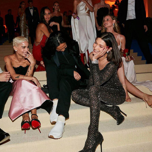 The Alexander Wang girls took a moment to chill on the steps of the Met