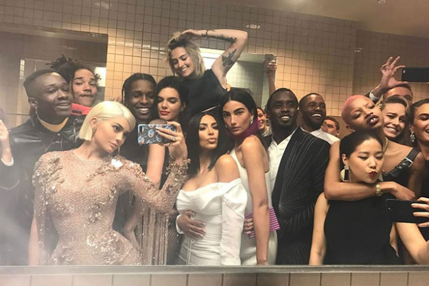 The annual bathroom selfie was taken to another level; we can already spot Kylie Jenner, Kendall Jenner, A$AP Rocky (we'll get to that in a minute), Lily Aldridge, Sean Combs, Brie Larson, and Kim Kardashian West to name a dew.