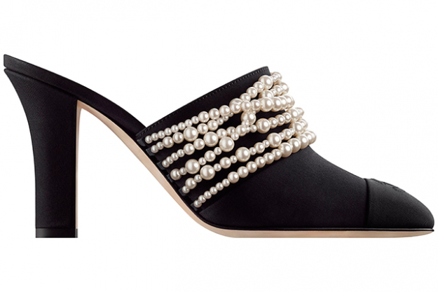 Chanel Mules in black grosgrain with fantasy pearls, $1,250
