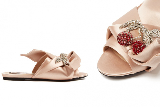 "No. 21 crystal and satin slides, $674 at MatchesFashion.com<p><a target=""_blank"" href=""http://www.matchesfashion.com/au/products/No-21-Crystal-embellished-satin-slides-1077607"">Shop</a></p>"