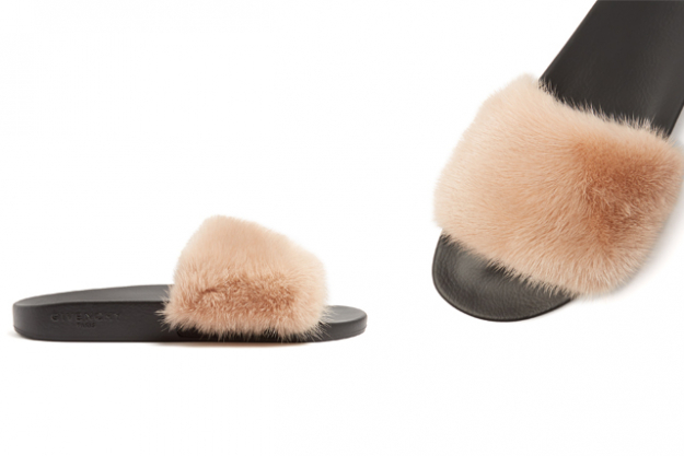 "Givenchy mink and rubber slides, $1000 at MatchesFashion.com<p><a target=""_blank"" href=""http://www.matchesfashion.com/au/products/Givenchy-Mink-fur-and-rubber-slides-1077922"">Shop</a></p>"