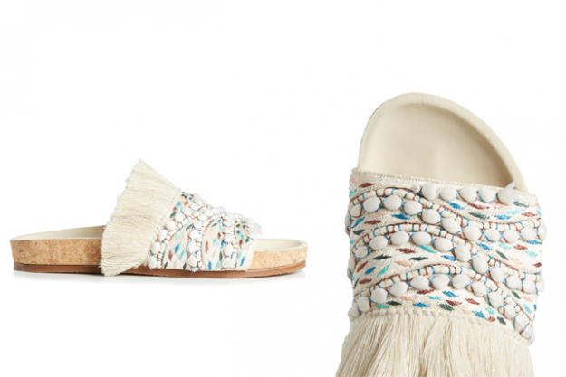 "Chloé embroidered fringed slides, $730 at MatchesFashion.com<p><a target=""_blank"" href=""http://www.matchesfashion.com/au/products/Chlo%C3%A9-Nolan-embroidered-and-fringed-slides-1094279"">Shop</a></p>"