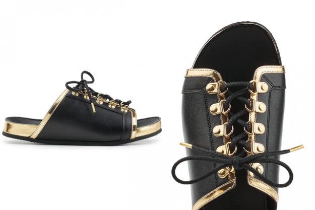 Balmain leather lace-up slides, approx. $610 at Stylebop.com