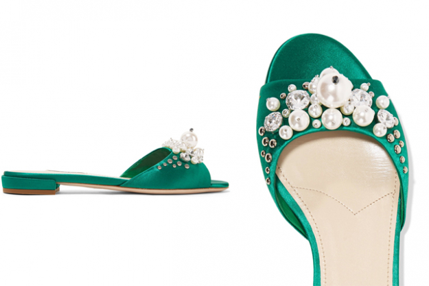 "Miu Miu embellished slides, $746 at Net-a-Porter.com<p><a href=""https://www.net-a-porter.com/nz/en/product/797960/Miu_Miu/embellished-satin-slides"" target=""_blank"">Shop</a></p>"
