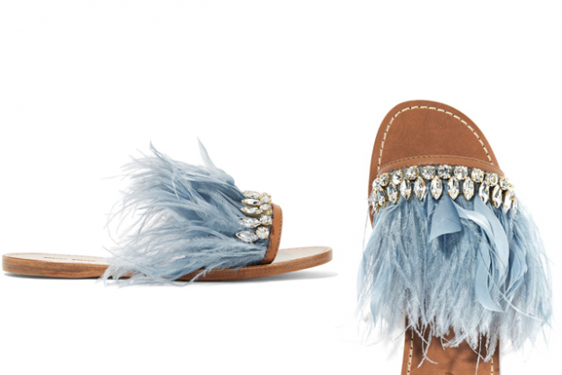 "Miu Miu feather and Swarovski crystal slides, $1023 at Net-a-Porter.com<p><a href=""https://www.net-a-porter.com/nz/en/product/797965/Miu_Miu/swarovski-crystal-and-feather-embellished-satin-and-leather-slides"" target=""_blank"">Shop</a></p>"