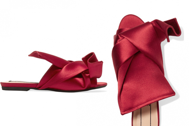 "No. 21 knotted silk satin slides, $509 at Net-a-Porter.com<p><a target=""_blank"" href=""https://www.net-a-porter.com/nz/en/product/812814/No_21/knotted-satin-sandals"">Shop</a></p>"