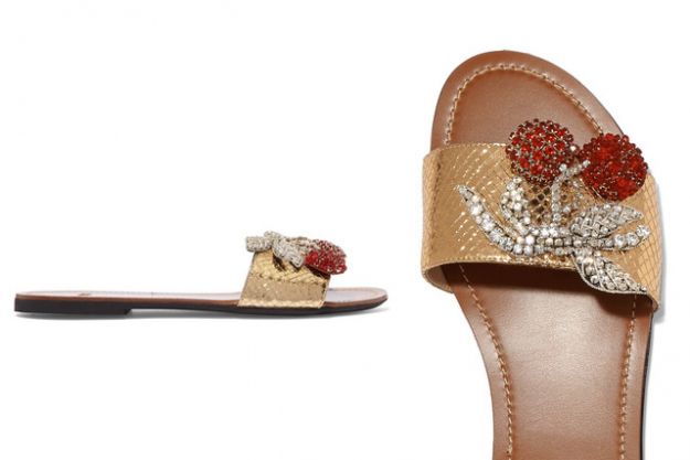 "No.21 snake-effect embellished slides, $554 at Net-a-Porter.com<p><a href=""https://www.net-a-porter.com/nz/en/product/812820/No_21/embellished-metallic-snake-effect-leather-sandals-"" target=""_blank"">Shop</a></p>"