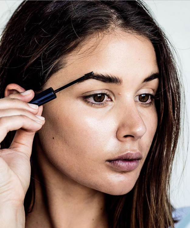 "Brows: Estee Lauder Volumizing Brow tint. ""Colours in the brows and shapes them all in one."""