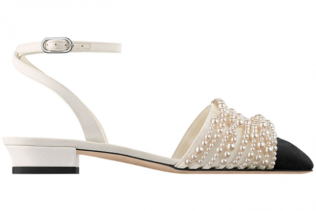 Chanel Shoes in white satin, black grosgrain, fantasy pearls, $1,400