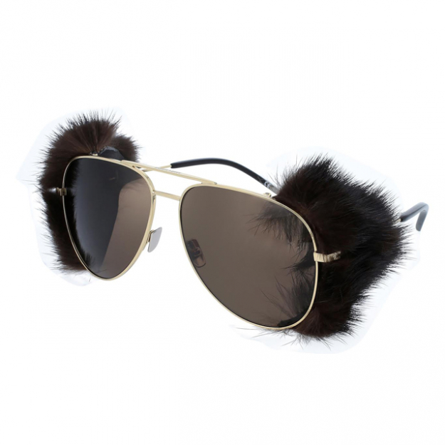Saint Laurent sunglasses with detachable mink trim; $POA at SunshadesEyewear.com.