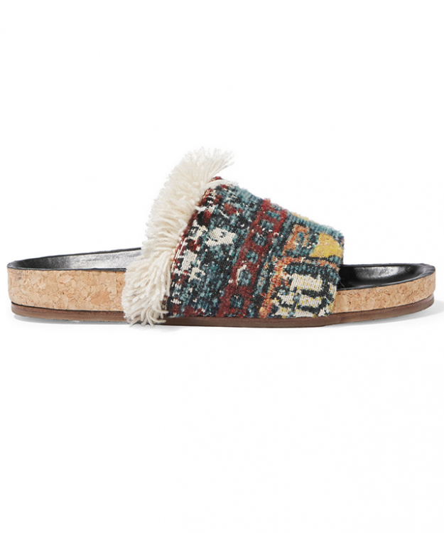 "Chloé slides<p><a style=""font-size: 17px; line-height: 29px;"" target=""_blank"" href=""https://www.net-a-porter.com/au/en/product/715417/Chloe/fringed-boucle-jacquard-slides"">net-a-porter.com/au</a></p>