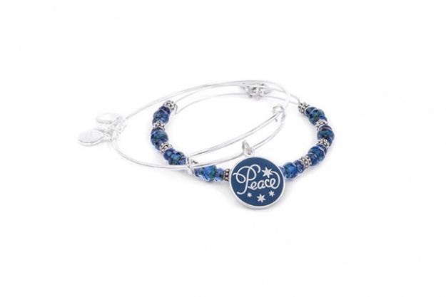 Peace Navy Art Infusion set of 2 Charm Bangles, $115