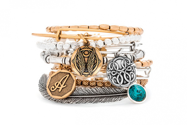 From top: Jordan Beaded Bangle in Yellow Gold, $69, Godspeed bangle, $55, Euphrates beaded bangle in shiny silver, $69, Path of life bangle, $55, Bamboo Beaded bangle, $69, Initial A bangle, $55, Euphrates beaded bangle, $69, May birthstone bangle, $55, Plume Feather Wrap, $99