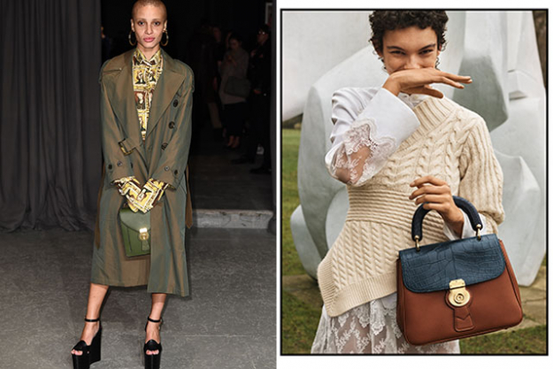 Adwoa Aboah (left) hold a bag from the DK88 collection, (right) Jess Cole carries a bag from the DK88 collection in the new Burberry campaign shot by Josh Olins