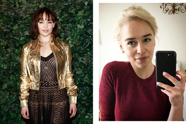 Emilia Clarke dyed her naturally dark locks icy blonde for her role as Daenerys Targaryen in Game of Thrones.