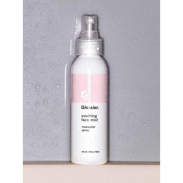 "Face mist: ""I like to spray the Glossier Soothing Face Mist to set my makeup.""<p><a style=""font-size: 17px;"" href=""https://www.glossier.com/products/soothing-face-mist"">glossier.com</a></p>