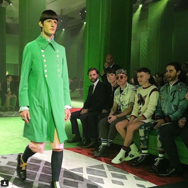 The moment where Leto fell in love with this green Gucci coat at the S/S'17 men's collection.