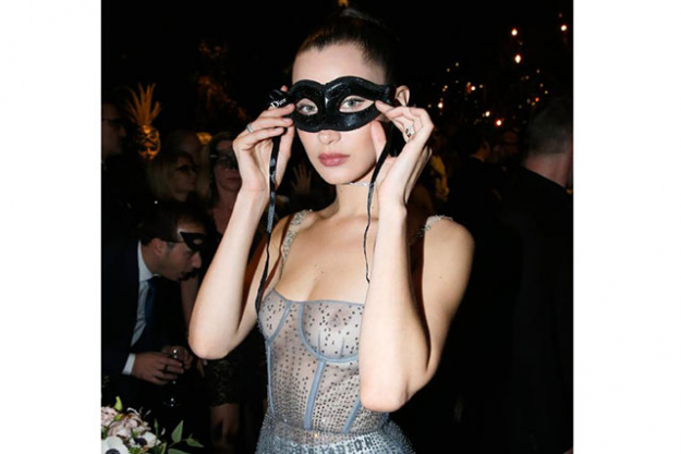 Bella Hadid went sheer in a nipple-baring dress at the Dior Masquerade ball but still managed to look elegant AF.