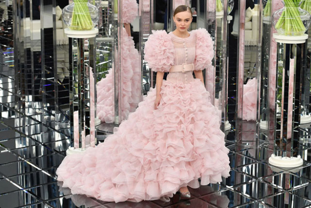 Lily Rose Depp stole the Chanel show in a frothy pink, OTT bridal gown.