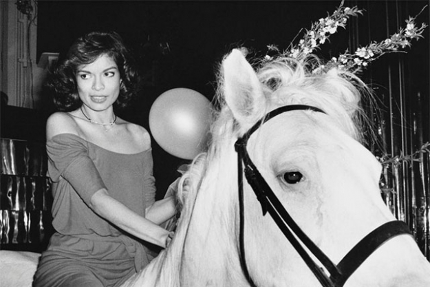 Bianca Jagger rides through Studio 54 on a horse on her 30th birthday, 1977