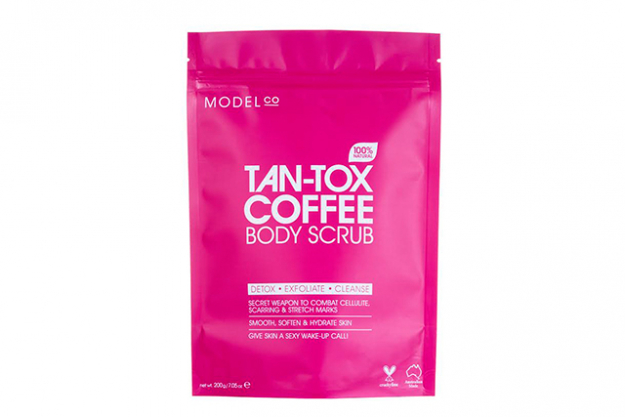 "Tan-Tox Coffee Scrub, $20, ModelCo<p><a style=""font-size: 17px; line-height: 29px;"" href=""http://www.modelcocosmetics.com/shop/skincare/concern/exfoliate-tone/tan-tox"">modelcocosmetics.com</a></p>