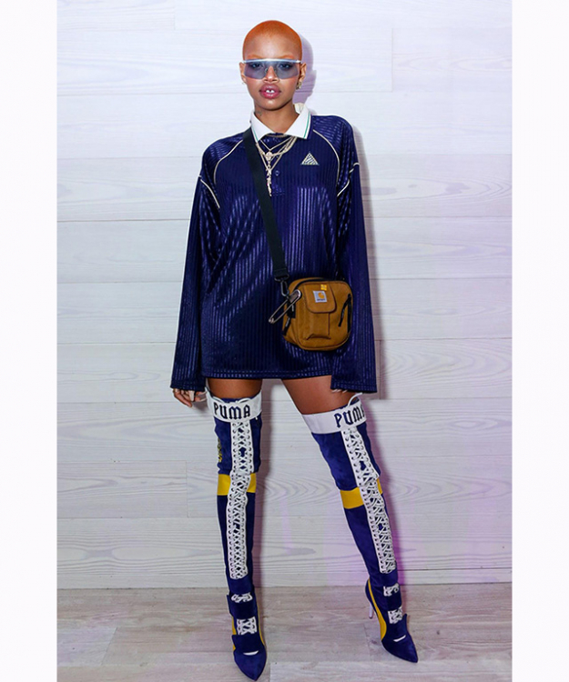 "Slick Woods: when talking It-girls, it doesn't get much cooler than Slick Woods. Brought to stardom by Kanye West, Woods this year fronted the beauty campaigns for Fenty Beauty, as well as Rihanna's second Fenty Puma range. Known for her shaved head and gapped tooth, Woods has also starred in campaigns for Calvin Klein and walked the runway for Marc Jacobs at NYFW.<p><a target=""_blank"" href=""https://www.instagram.com/slickwoods/?hl=en"">@slickwoods</a></p>"