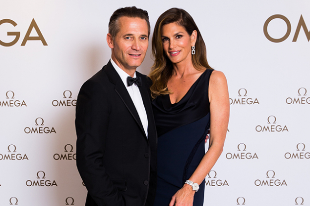 Cindy Crawford with OMEGA President and CEO Raynald Aeschlimann