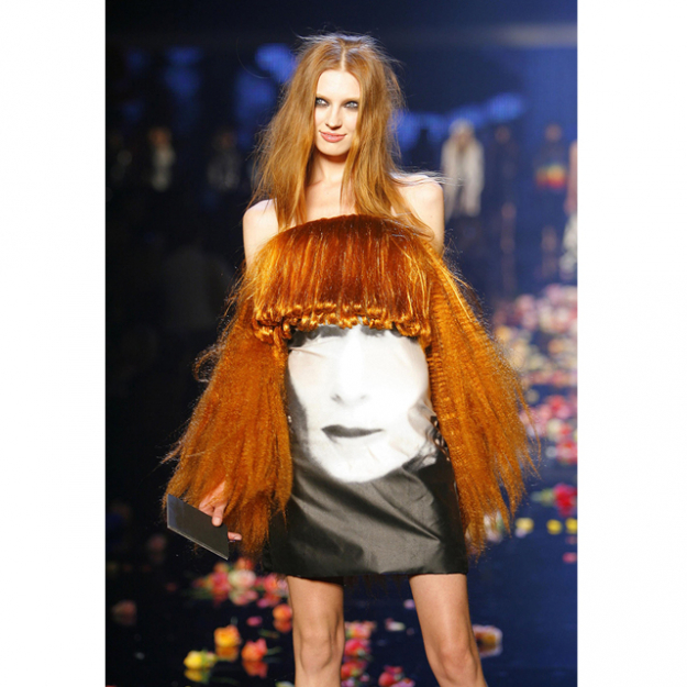 A model wears a dress in the likeness of the designer, Sonia Rykiel runway, 2009