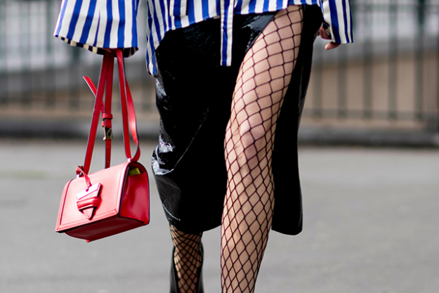 Statement hosiery kicks the sex-factor up a notch when you have to be more covered up than usj.